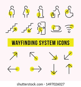 Modern simple wayfinding system icon set. Thin line icons. Contains icon of restroom, exit, wheelchair, wifi, cafe, exit, information, trash, stairway and more.