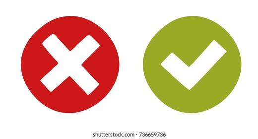 Modern and simply icon - yes and no. Graphic symbols isolated on white background. Vector eps 10.