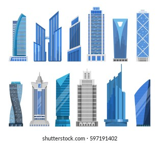 Modern skyscrapers in a flat style. High-rise or tower office buildings vector set. Isolated business buildings for a cityscape.
