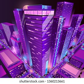 Modern skyscrapers illuminated buildings group isometric projection vector in violet, neon colors. Metropolis downtown district futuristic architecture illustration. Business real estate background