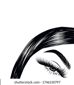 Modern sleek hairstyle of a beautiful girl and baby hairs. Glam eye look with full natural eyebrow and luxe eyelashes. Salon logo template for brochures