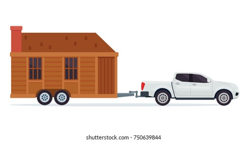 Modern Small Tiny House Building With Pick Up Truck Illustration