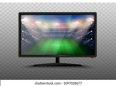 Modern smart 4k TV set 3d vector illustration. Isolated realistic icons on transparent background. LCD/Plasma screen with football stadium. Soccer world cup match. Sport news on tv.