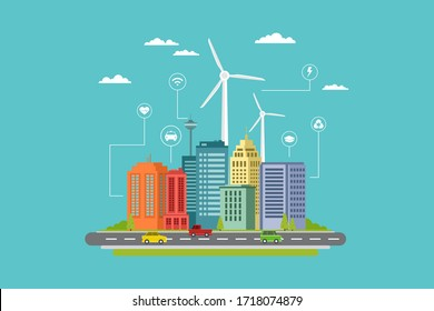 modern smart city flat design with info graphic and eco energy elements in the future