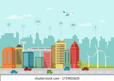 modern smart city flat design with wind energy and info graphics