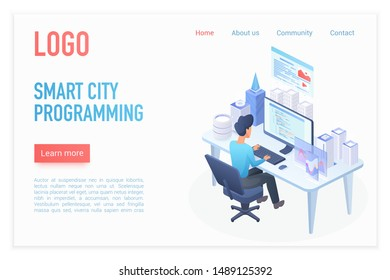 Modern smart city programming management control landing page isometric vector template. Architect builder working at desk, hologram smart city model on desktop. Business strategy. Urban construction