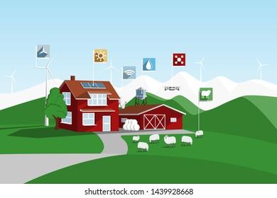 Modern smart farm in mountains. Digital agriculture. Vector illustration