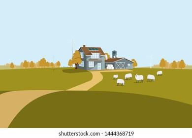 Modern smart farm using renewable energy. Digital agriculture. Vector illustration