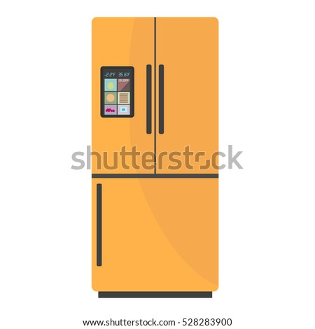 Modern smart fridge with display on isolated background. Home appliances refrigerator, fridge, freezer vector illustration.