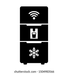 Modern smart fridge vector icon on white background