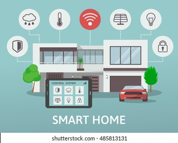 Modern Smart Home. Flat design style concept of smart house technology system with centralized control. Vector illustration