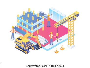 Modern Smart Isometric Under Construction Page, Suitable for Diagrams, Infographics, Illustration, And Other Graphic Related Assets