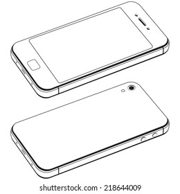 Modern smart phone isolation vector. Black and white drawing in the style of minimal
