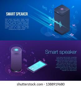 Modern smart speaker banner set. Isometric set of modern smart speaker vector banner for web design