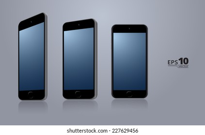 Modern smartphone in 3 different angles. Scalable vector illustration