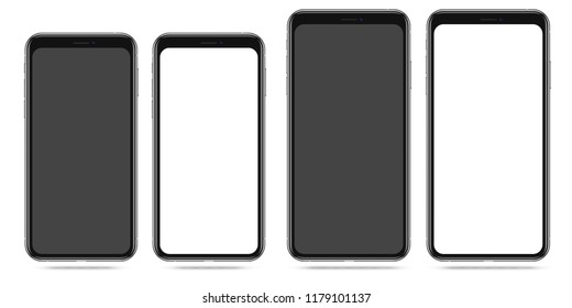 Modern Smartphone with Blank Black and White Screen. Cell Phone Front View Mockup for UI design. Two Popular Sizes Variants. Mobile Phone Template. Vector Illustration.
