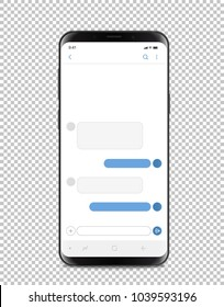 Modern smartphone with blank chat interface. Layered and detailed mockup