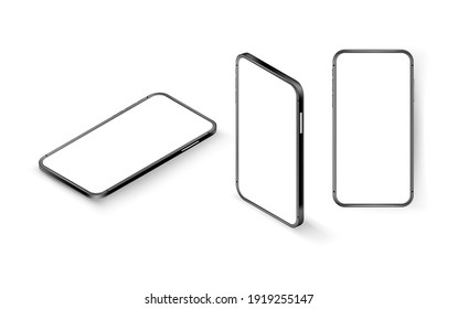 Modern smartphone with blank screen vector mockup. Isometric vector illustration isolated on white background