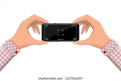 Modern smartphone with camera application. User interface of camera viewfinder. Focusing screen in recording time. Battery status, quality, image stabilization icon, ui. Vector illustration flat style