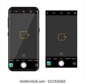 Modern smartphone with camera application. User interface of camera viewfinder. Focusing screen in recording time. Gallery, hdr, quality, image stabilization icon, ui. Vector illustration flat style