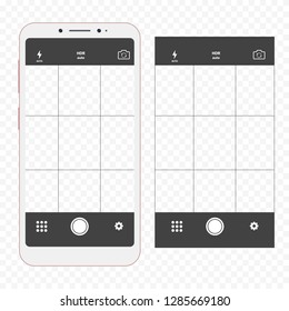 Modern smartphone with camera application. User interface of camera viewfinder. Mobile phones with focusing screen of the camera video, photo. Photo shoot for social network.