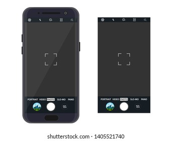 Modern smartphone with camera application. User interface of camera viewfinder. Focusing screen in recording time. Vector illustration flat style