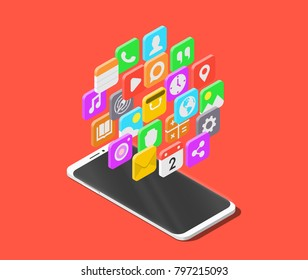 Modern smartphone with cloud of mobile apps over it. Isometric vector illustration