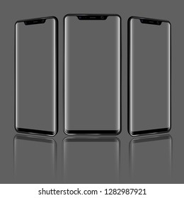Modern Smartphone with different angles of view and Transparent Screens. High detailed vector illustration.