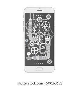 Modern smartphone with different steampunk vintage cogs, gears and scales inside. Vector illustration.