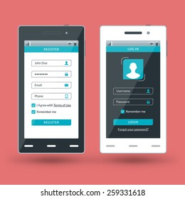 flat design template for mobile apps