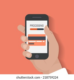 Modern smartphone with processing of mobile payments from credit card on the screen. Near field communication technology concept. Isolated on red background. Flat design style vector illustration.
