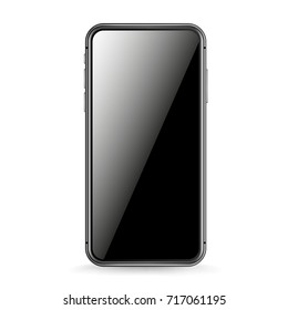Modern smartphone vector mockup isolated on white. Place any content into the screen
