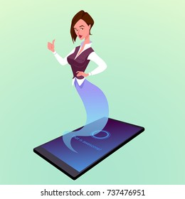 Modern smartphone with virtual woman assistant like a genie. Vector cartoon illustration.