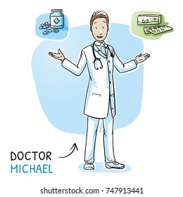 Modern smiling doctor in white coat and stethoscope giving choice between two medications. Hand drawn cartoon sketch vector illustration, whiteboard marker style coloring.