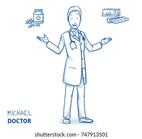 Modern smiling doctor in white coat and stethoscope giving choice between two medications. Hand drawn blue outline line art cartoon vector illustration.