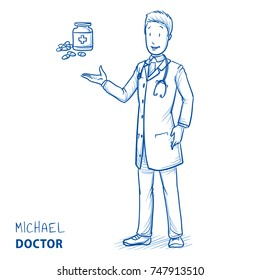 Modern smiling doctor in white coat and stethoscope recommending a medication or bottle of pills. Hand drawn blue outline line art cartoon vector illustration.