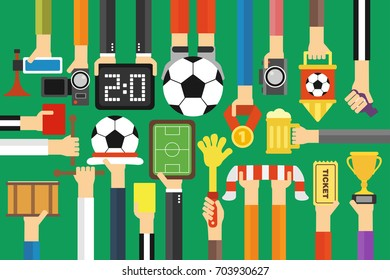 Modern soccer fan flat design set.Vector illustration