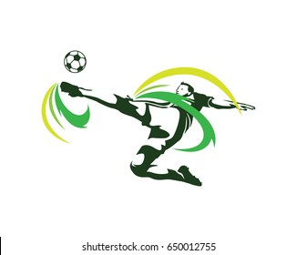 Modern Soccer Player In Action Logo - Passionate Flying Tornado Kick