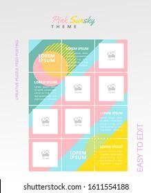 modern social media post feed, Pink gradient blue sky, magenta, instagram feed, instagram template, instagram frame, minimalist.