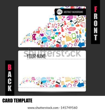 Modern Social Network Business Card Set Stock Vector Royalty Free