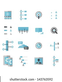 Modern Social Timeline Icons. A set of Social Timeline icons that include: Friend List, Group List, Conversation Data, Targeted Search, Social Timeline, Time Segment, Social, Mobile, Posted Comments.