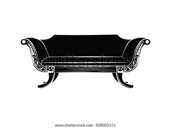 Modern sofa with classic ornaments in black and white. Vector