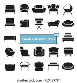 modern sofa and couch furniture icons