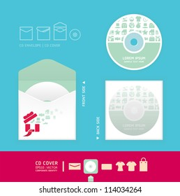 Modern soft color cd design with icon shopping  / corporate identity design for business set / vector illustration