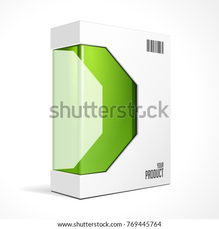 Modern Software Product Package Box Green Stock Vector