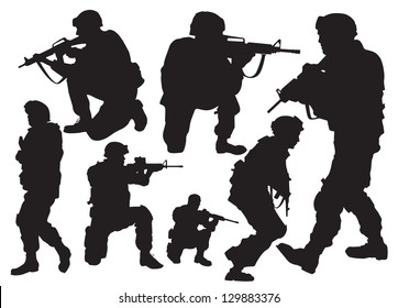 the modern soldier in combat positions