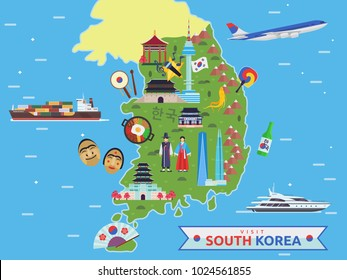 Modern South Korea Famous Tourist Destination Map Illustration
