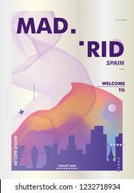 Modern Spain Madrid skyline abstract gradient poster art. Travel guide cover city vector illustration
