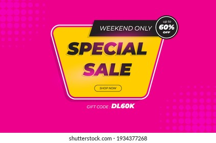 Modern Special Sale Banner Design Illustration. Promotion Of Your Products With 60% Discount, Clothing, Fashion, Technology, Electronics. Isolated on Magenta Colour. Vector Illustration