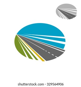 Modern speed highway road disappearing into the distance under blue sky, for transportation or travel icon design